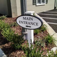 Sandblasted Main Entrance Sign for Wells Events & Reception Center