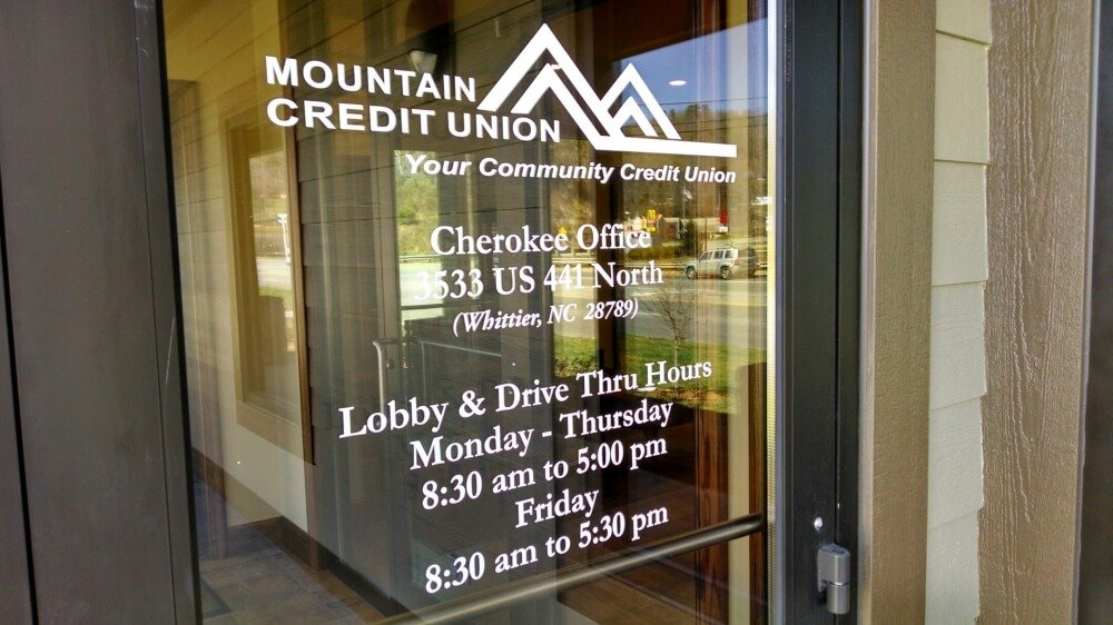 Window Lettering | Mounatin Credit Union Waynesville NC ... & Custom Interior Signs: Lobby Foam  Metal Lobby Signs
