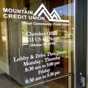 Window Lettering | Mounatin Credit Union Waynesville NC